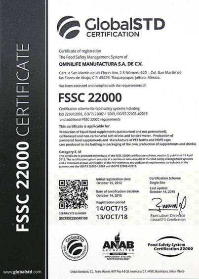 Certificación GlobalSTD/FSSC 22000